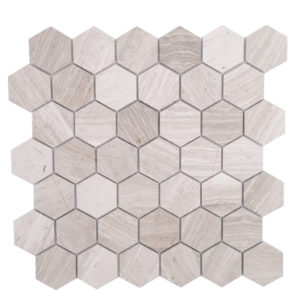 "Mosaic Grey Marble 2"" Hexagon Woodlight"