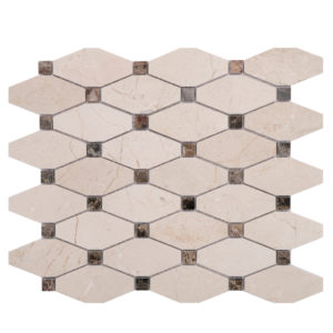 Mosaic Beige Marble Long Octagon Crema w/ Brown Dot
