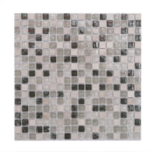 Mosaic Glass-Stone Mixed Assorted 5/8 x 5/8 Stacked Taupe