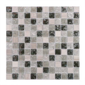 Mosaic Glass-Stone Mixed Assorted 1x1 Stacked Taupe