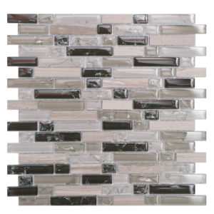 Mosaic Glass- Stone Mixed 5/8 Random Strips Taupe